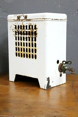 Vintage Porcelain Space Heater White brass Spout Faucet Antique repurpose old