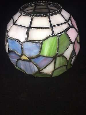 """Antique Jeweled Tiffany Style Stained Glass Lamp Shade Floral Design 5""""×3.5"""""""