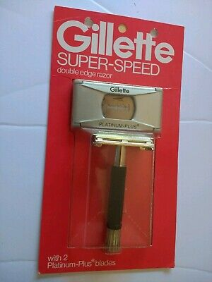 Vintage MINT NOS SEALED GILLETTE SUPER SPEED Safety RAZOR 2 PLATINUM PLUS BLADES