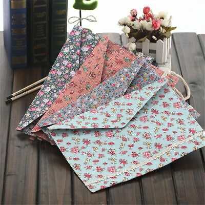 Flower File Bag Cotton Fabric Button Closure Folder Bag Document Bill Folder Hot