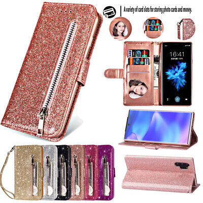 For Samsung Note 10 Plus S10 S9 A70 Glitter Leather Flip Zip Wallet Case Cover