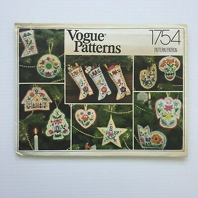 Vogue Pattern Christmas Stocking Holiday Ornaments embroidery transfers 1754