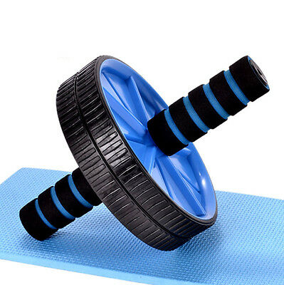 Dual Ab Wheel For Abs / Abdominal Roller Workout Exercise Fitness Blue HK