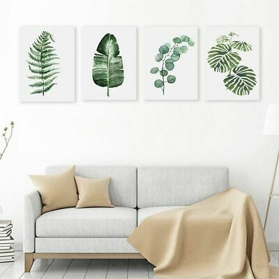 Green Plant Tropical Canvas Art Print Poster Nordic Plant Picture cZxY