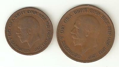 2 x 1929 George V Coins - One Penny & One Half Penny