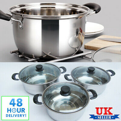 Set of 3 Stainless Steel Cookware Saucepans Lid Cooking Food Frying Pans Seconds