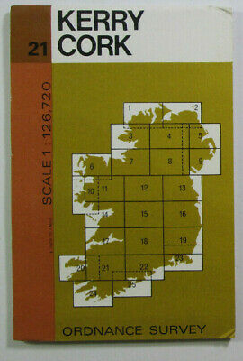 1978 Old Vintage OS Ordnance Survey of Ireland Half-Inch Map Sheet 21 Kerry Cork