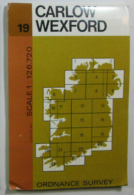 1978 Old Vintage OS Ordnance Survey of Ireland Half-Inch Map 19 Carlow Wexford