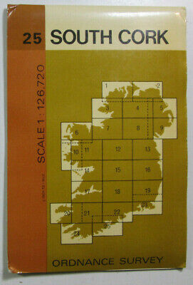 1978 Old Vintage OS Ordnance Survey of Ireland Half-Inch Map Sheet 25 South Cork
