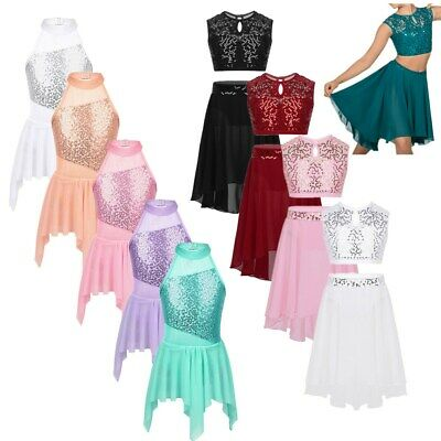 Girls Lyrical Ballet Dance Dress Contemporary Costume Ballroom Dancewear Outfits