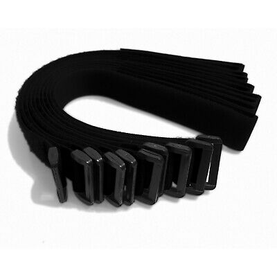 25mm x 400mm Front Ring Buckle Straps made with VELCRO® Brand Tape 10 Strap Pack