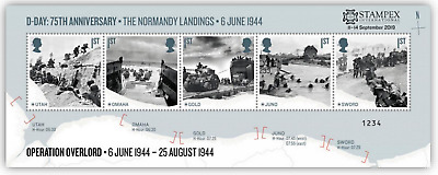 GB 2019 AUTUMN STAMPEX D-DAY OVERPRINT 7500 Issued  SEE BELOW  SPECIAL OFFER