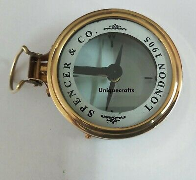 """3"""" Antique Brass Spencer Compass Vintage Glass Collectible Item."""