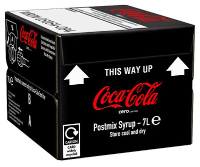 ZERO Coca Cola Bag in Box Post-Mix Syrup 7lt BEST BEFORE 10.9.2019