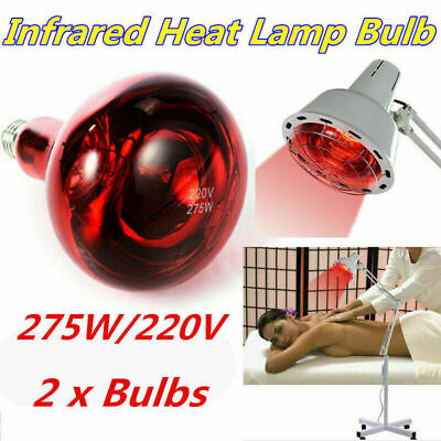 2Pcs Infrared Heat Lamp Bulb 275W Therapy Health Pain Relief Therapeutic Lamp D