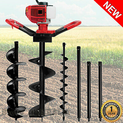 Post Hole Digger 75CC Petrol Earth Drill Ground Borer Fence Posthole Auger Bits