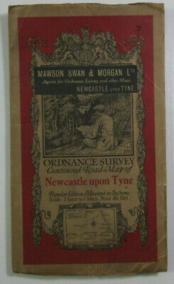 1929 Old OS Ordnance Survey One-Inch Popular Edition Map 7 Newcastle Upon Tyne