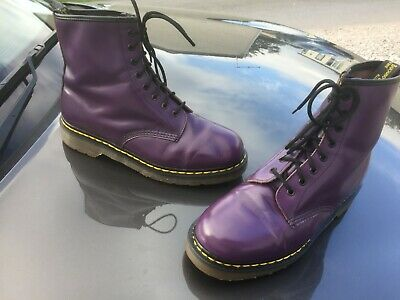 Vintage Dr Martens 1460 purple leather boots UK 8 EU 42 Made in England