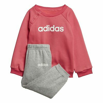 adidas LINEAR FLEECE JOGGER SET tracksuit Infant Girls - Pink/Grey 3-4 years