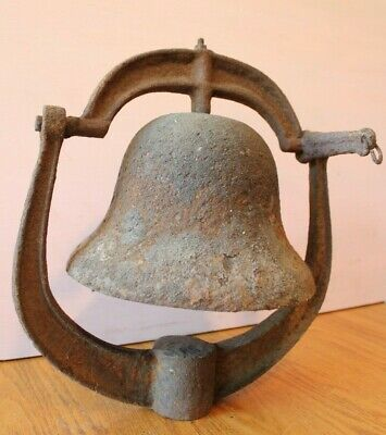 Bell Cast Iron Post Top School Bell Dinner Church Vintage Large Antique Bell