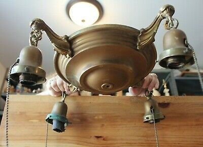 Brass Pan Chandelier 4 Arm Pan Ceiling Light Fixture Vintage lamp FOR PARTS