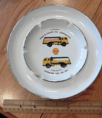Ashtray Shell Gasoline Porcelain Town & Country Oil Schneider Fuel NY Vintage