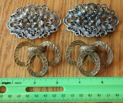Shoe Buckle Lot of 2 Sets of Brass Pewter Vintage Decorative shoe embellishments