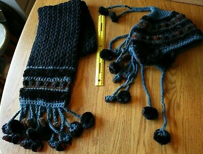 Winter Hat and Scarf Set Hand made knitted Very Unique tassel design black blue