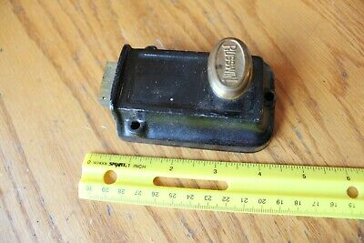 Russwin Cast Iron Door Rim Night Latch Vintage Brass twist knob lock Antique