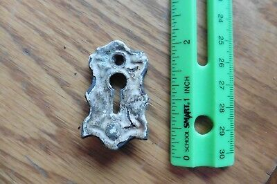 Cast Iron Key Hole Vintage Escutcheon Keyhole plate cover salvage Ornate shape