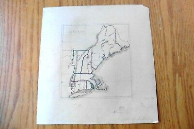 Survey New England States Drawn Map Rowland Barber 1882 Original Sketch Vintage