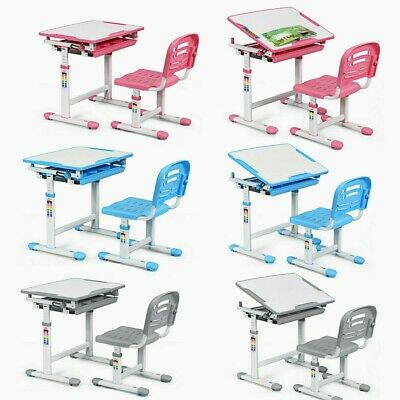 Children Kids Study Desk Chair Set Ergonomic Height Adjustable