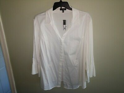 The Limited Ladies Plus Size 3X Blouse Top White Cotton Spandex New With Tags