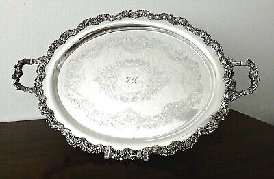 "OSP Old Sheffield Silver Plate on Copper Waiter Tray 25"" Mono FL, Heavy Acanthus"