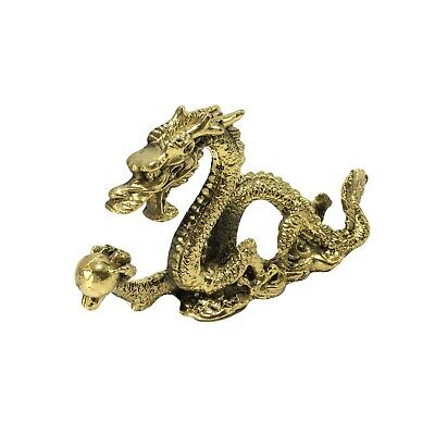 Chinese Brass Dragon Figurine Statue Solid Metal Luck Success Feng Shui 8.8 oz