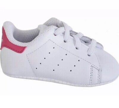 SH1* adidas Girls Baby Stan Smith Crib White Pink Uk 5k