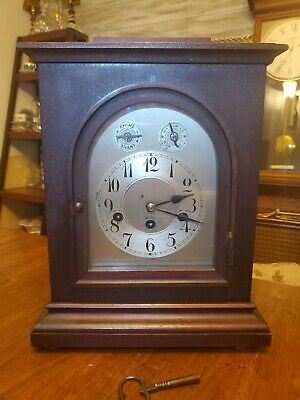 Antique Junghans Mahogany Westminister Chime Bracket Mantle Shelf Clock  1914