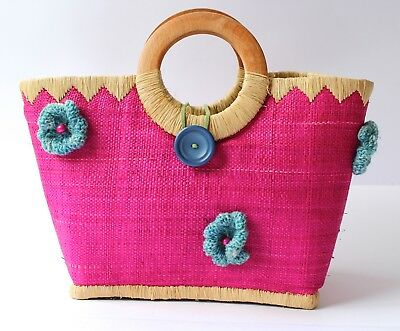 Pink Woven Straw Shopping Basket 2 Wood Handles Blue Knitted Flowers 23x13x21cm