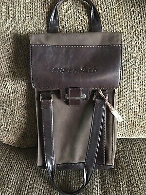 Cutter & Buck AUTHENTIC Leather Double Wine Bottle Bag Carrier Tote NEW