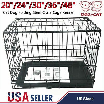 "20""-48"" Large Cat Dog Folding Steel Crate Playpen Travel Pet Cage Kennel w/ Tray"
