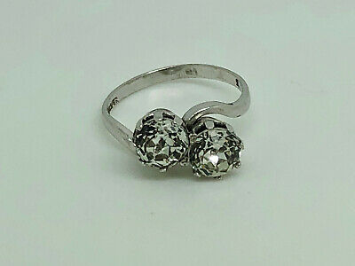 Antique Art Deco Sterling Silver Paste Bypass Crossover Cocktail Ring Size I 1/2