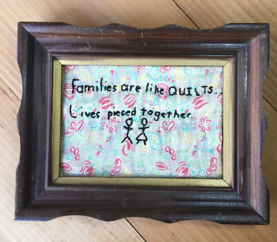 Antique Vintage Hand Embroidery Rustic Quilts Framed Home Decor Embroidered
