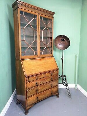 An Antique Early 20th Century Oak Bureau Bookcase Desk ~Delivery Available~
