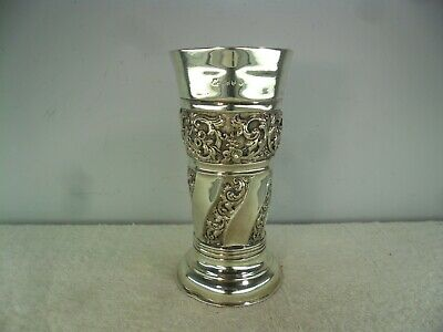 Ornate Late Victorian Solid Silver Vase, London c1900