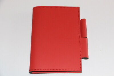 Pinetti Red Leather Notebook Journal Handmade in Italy Notepad Holder