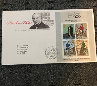 GB - FIRST DAY COVER - FDC - MINI SHEET -1979- ROWLAND HILL - Pmk LONDON