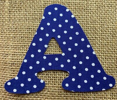Navy with White Polka Dot Iron On Letters & Numbers - Ideal for personalising