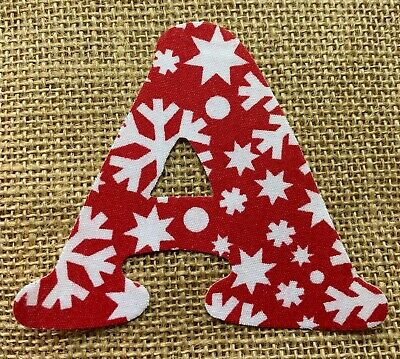 Red with White Snowflakes Iron On Letters & Numbers - Ideal for Christmas Crafts