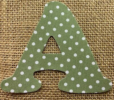 Sage Green with White Polka Dot Iron On Letters & Numbers