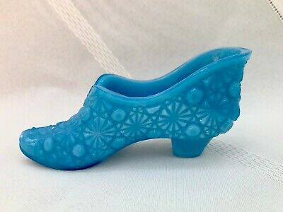 Vintage Opaque Blue Glass Daisy & Button Shoe-Westmoreland? EAPG, Whimsy Slipper